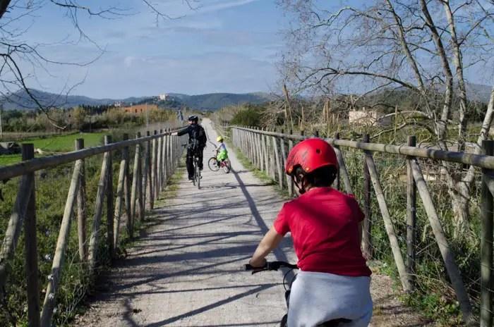 Radfahren auf dem grünen Weg bei Artà