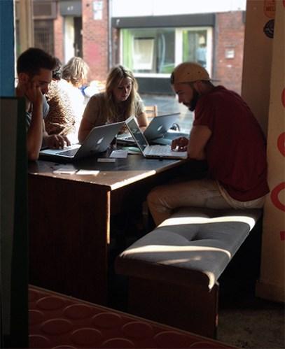 Mac users at 'Common' bar, Edge Street