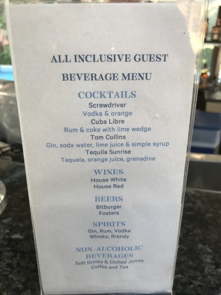All Inclusive restrictions - Sheraton Abu Dhabi