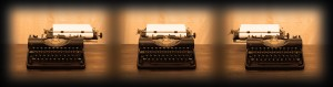 Old typewriter on wooden table, series of three