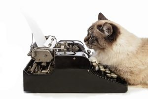 A Cat using a typewriter to perform substantive editing.