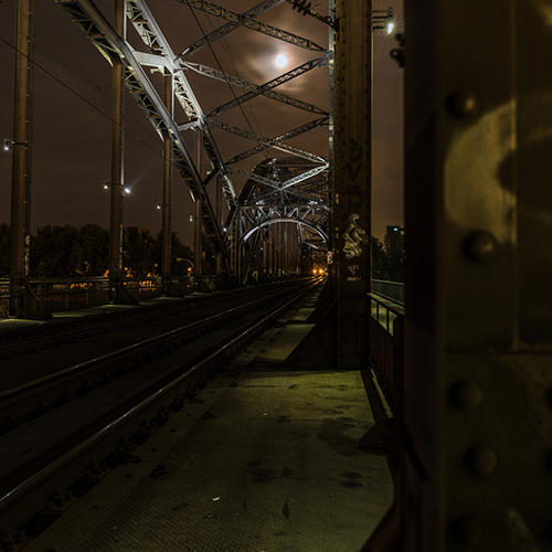 Train tracks by the light of the silvery moon