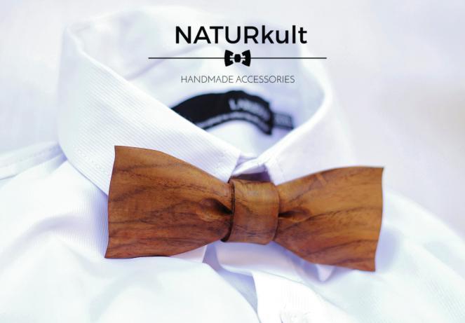 Fliege und Logo NATURkult Projekt Maloutainment Holz Nachhaltigkeit Handarbeit Transparenz Entstehung Nürnberg Bayern