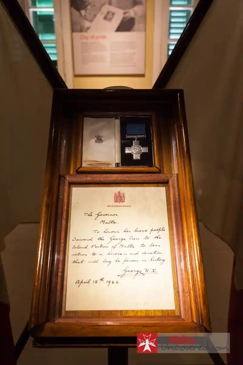 The George Cross on display at the War Museum in Valletta