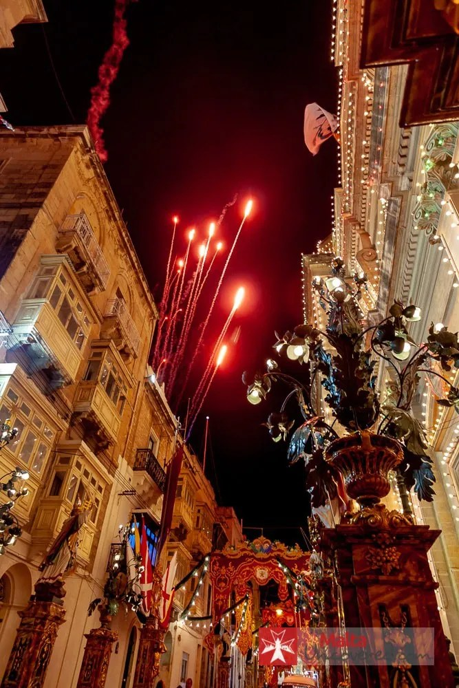 Fireworks in the streets of the village of Naxxar during the festa of The Nativity of Our Lady.