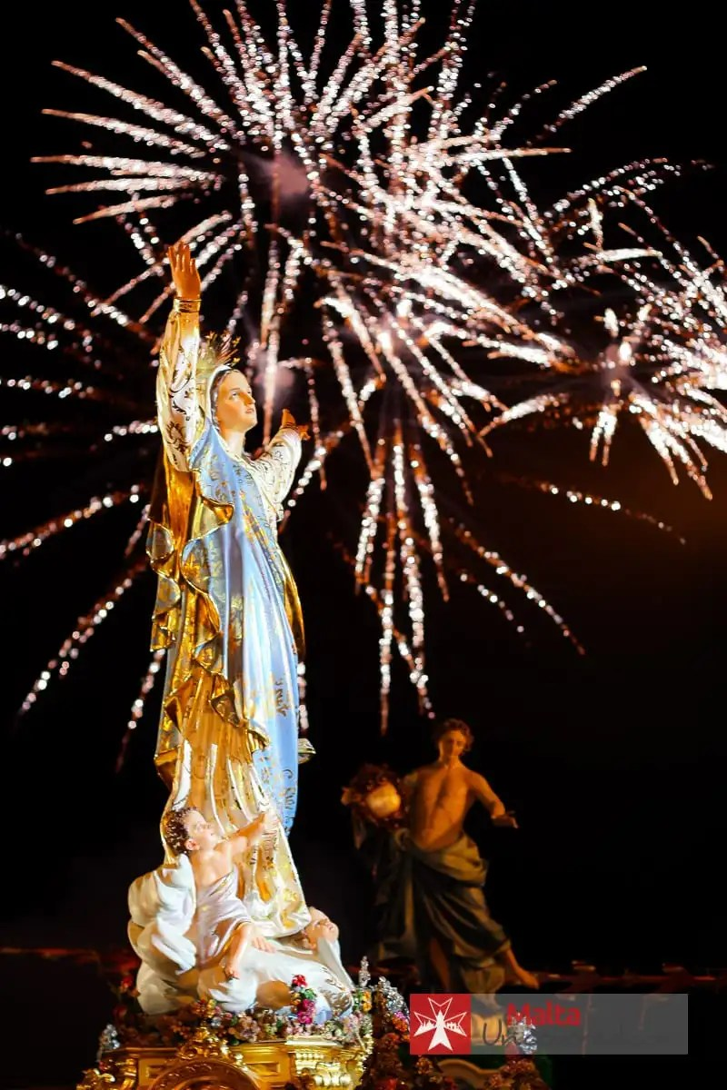 The village feast or festa is a religious celebration and often involves the carrying of a statue of the village's patron saint.