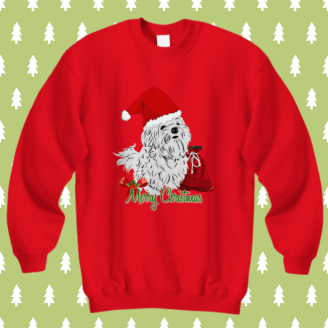 maltese dog christmas sweatshirt