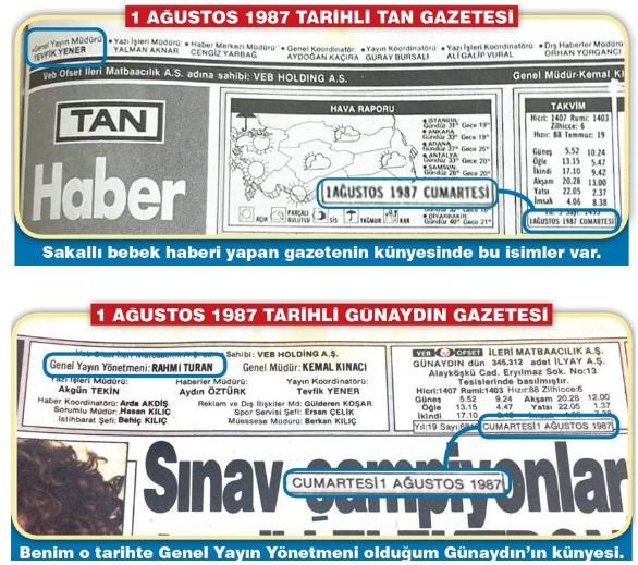 Sakallı Bebek'in haberleştirildiği 1 Ağustos 1987 tarihinde Tan ve Günaydın gazetelerinin künyeleri