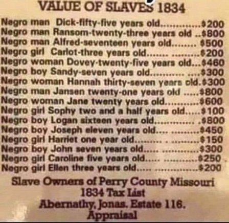 1834'ten köle satış ilânı olduğu iddiasıyla paylaşılan görsel