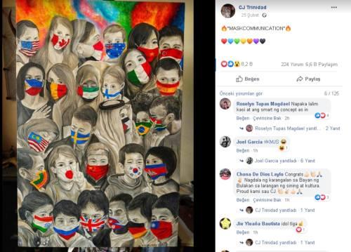 """Filipinli sanatçı CJ Trinidad'ın """"Maskcommunication"""" isimli çalışmasını içeren paylaşımı"""