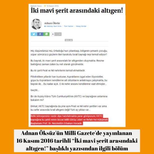"""Milli Gazete yazarı Adnan Öksüz'ün 16 Kasım 2016 tarihli """"İki mavi şerit arasındaki altıgen!"""" başlıklı yazısı"""