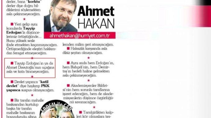 """Ahmet Hakan'ın Hürriyet Gazetesinde 15 Ocak 2016 tarihinde yayınlanan """"Dönmek üzerine bir manifesto"""" başlıklı bir yazısı"""