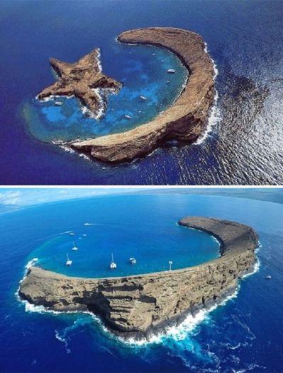 Ay yıldız şeklinde olduğu sanılan ABD'ye bağlı Hawaii'deki Molokini kraterine ait montaj ve orijinal fotolar