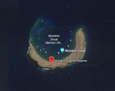 Ay ve yıldız şeklinde olduğu sanılan Hawaii'deki Molokini adasının uydu görüntüsü