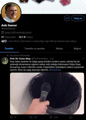 aziz sancar sahte profil