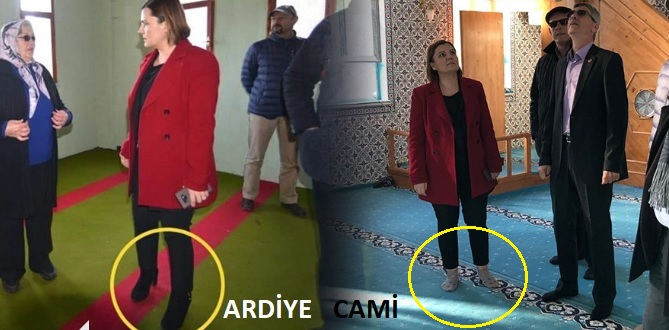 Camiye ayakkabıyla girildiği iddia edilen ardiye bölümününden fotoğraf ve camide ayakkabıların çıkarıldığını gösteren fotoğraf