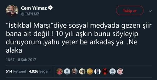Cem Yılmaz'ın İstikbâl Marşı adlı şiirin kendisine ait olmadığını belirttiği paylaşımı