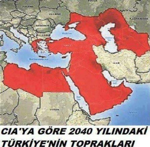 """""""CIA'ya göre 2040 yılında Türkiye'nin toprakları"""" haritası olduğu sanılan görsel"""