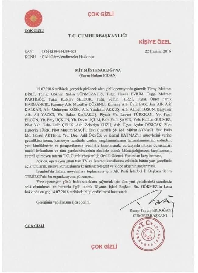 Cumhurbaşkanı Erdoğan Tarafından İmzalandığı ve 15 Temmuz Darbe Girişiminin Planını İçerdiği İddia Edilen Belge