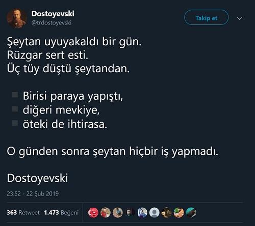 Dostoyevski'ye atfedilen sözü içeren paylaşım