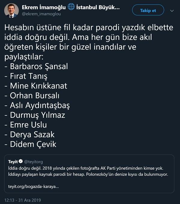 Ekrem İmamoğlu parodi Twitter profilinden, yaptığı trollemeye ilişkin yapılan açıklama