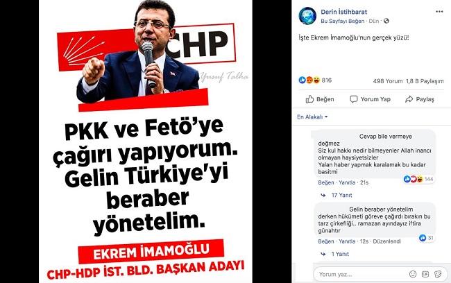 """Ekrem İmamoğlu'nun """"PKK ve FETÖ'ye Çağrı Yapıyorum Türkiye'yi Beraber Yönetelim"""" Dediği İddiasını İçeren Paylaşım"""