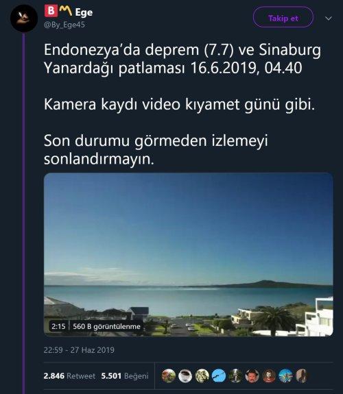 Sinabung Yanardağı'nın patlama anına ait olduğu sanılan videoyu paylaşan tweet