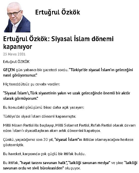 """Ertuğrul Özkök'ün Hürriyet Gazetesinde 25 Mayıs 2001'de yayınlanan """"Siyasal İslam dönemi kapanıyor"""" başlıklı yazısı"""