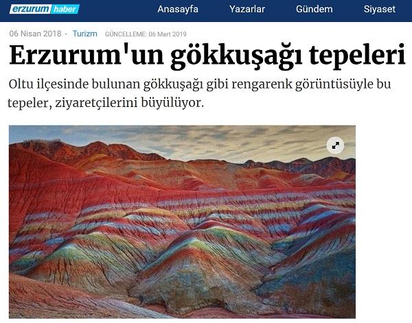 Erzurum'un gökkuşağı tepelerine dair haberde Çin'den resim kullanan haber