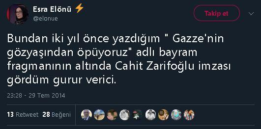 Esra Elönü'nün şiirinin Cahit Zarifoğlu'na atfedilmesine ilişkin yaptığı yorum