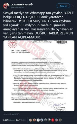 Sağlık Bakanı Fahrettin Koca'nın gizli koronavirüs genelgesi olduğu ididasıyla paylaşılan yazının sahte olduğunu açıkladığı paylaşımı