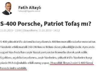 Fatih Altaylı'nın S400 Sistemi İle Hatalı Bilgilere Yer Verdiği Köşe Yazısı