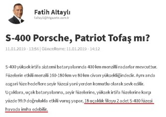 Fatih Altaylı'nın S-400 Füze Sistemine İlişkin Hatalı Bilgi Paylaştığı Yazısı