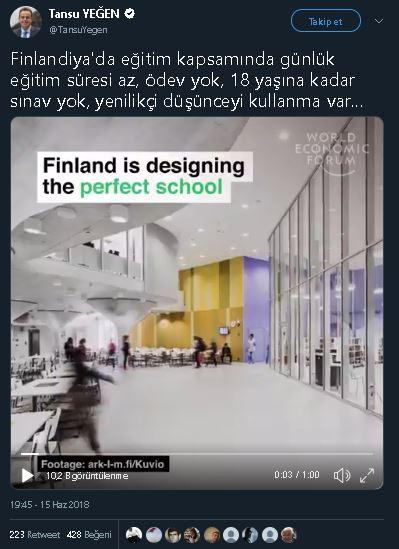 Finlandiya'da ev ödevinin olmadığını öne süren paylaşım
