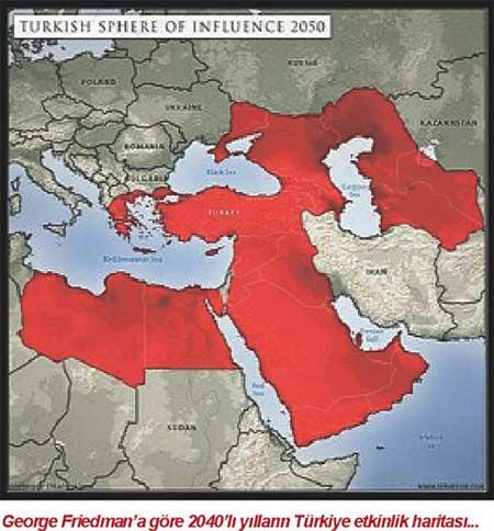 George Friedman'a göre 2040'lı yılların Türkiye etkinlik haritası alt başlığıyla paylaşılan görselin daha sonra CIA'nın 2040 haritası olarak paylaşılmaya başlandığı anlaşılıyor