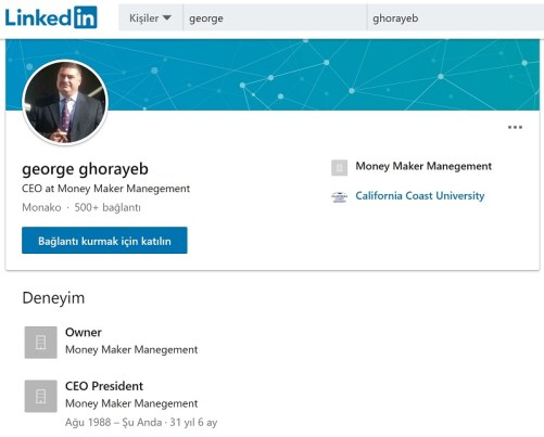 Money Maker Management'ın CEO'su George Ghorayeb'in LinkedIn profili