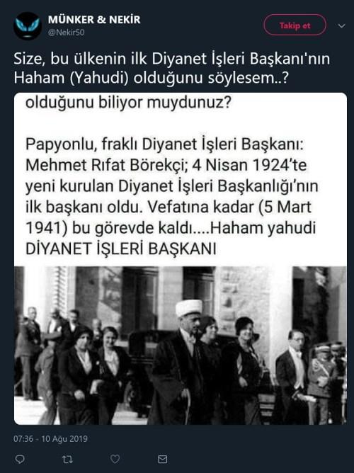 İlk Diyanet İşleri Başkanı Mehmet Rıfat Börekçi'nin yahudi bir haham olduğu iddiasını içeren paylaşım
