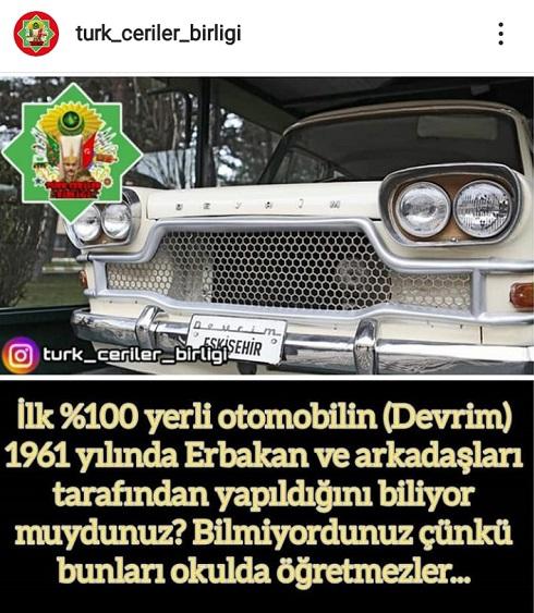 Türkiye'nin ilk yerli otomobili Devrim'i Necmettin Erbakan'ın ürettini öne süren paylaşım