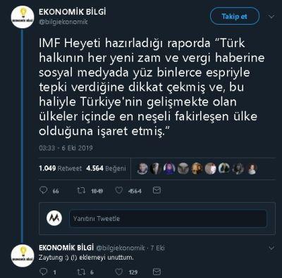 """IMF'nin Türkiye'yi """"En Neşeli Fakirleşen Ülke"""" İlân Ettiği İddiasını İçeren Bir Tweet"""