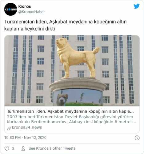 Türkmenistan köpek heykeli