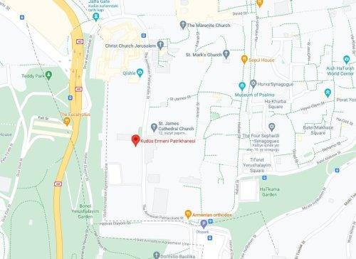 Kudüs Ermeni Patrikhanesi harita