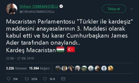 """Macaristan Anayasasına """"Türklerle Kardeşiz"""" maddesinin eklendiğini öne süren paylaşım"""