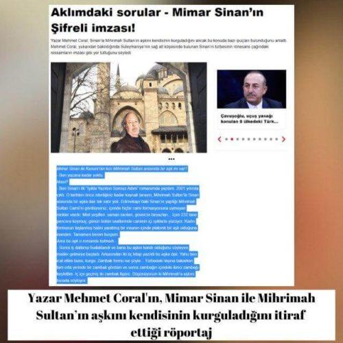 Mehmet Coral'ın Mimar Sinan'la Mihrimah Sultan'ın aşkını kendisinin kurguladığına dair itirafı