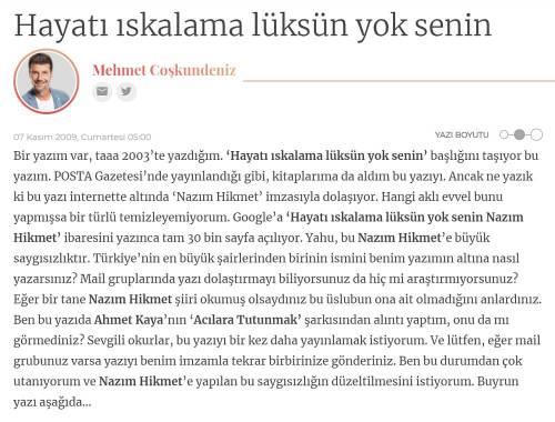 """Coşkundeniz'in 7 Kasım 2009 tarihli """"Hayatı ıskalama lüksün yok senin"""" başlıklı yazısı"""