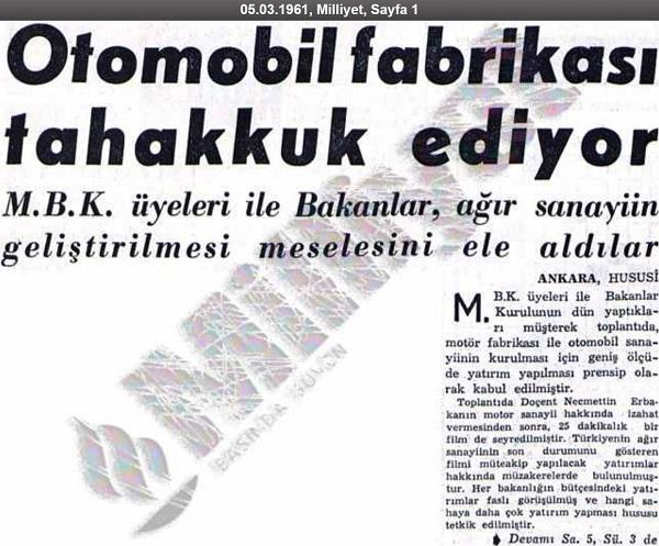 """Milliyet Gazetesinde 5 Mart 1961 tarihinde ilk sayfadan yayınlanan """"Otomobil Fabraikası Tahakkuk Ediyor"""" başlıklı haber"""