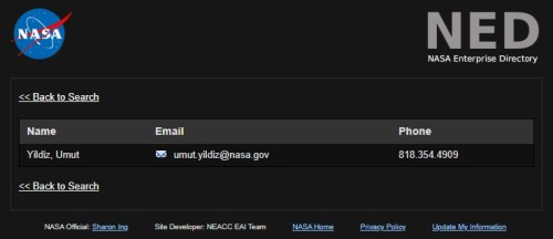 NASA personel arama sistemi