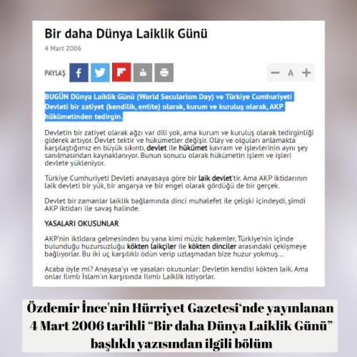 Özdemir İnce'nin 2006 yılında yayınlanan 4 Mart'ın Dünya Laiklik Günü olduğu iddiasını içeren köşe yazısı