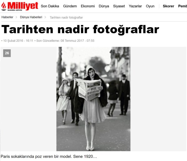 """Milliyet'in fotogalerisinde """"Paris sokaklarında poz veren bir model. Sene 1920…"""" notuyla bahse konu fotoğrafın sunulduğu görülüyor"""