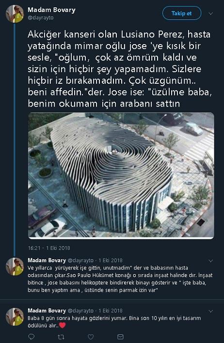 Kanser olan babasının parmak izi şeklinde bina tasarlayan mimar hikayesini paylaşan tweetler