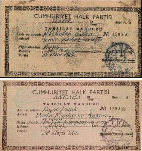 429048 nolu boş CHP tahsilat makbuzu üzerinde Reşat Petek'in adı ve bilgileri eklenerek Fethullah Gülen' ait olduğu öne sürülen CHP bağış makbuzunun asılsız olduğu öne sürülmüştü